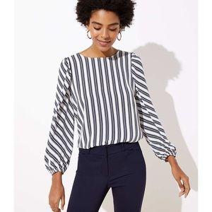 Loft navy blue & white striped puff sleeve blouse